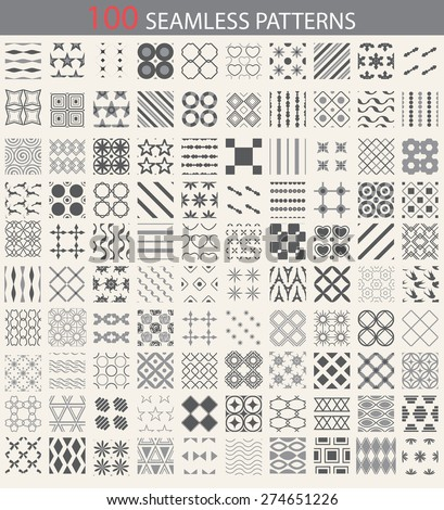 100 different vector seamless patterns. Endless texture can be used for wallpaper, pattern fills, web page background,surface textures. Set of monochrome geometric ornaments. - stock vector