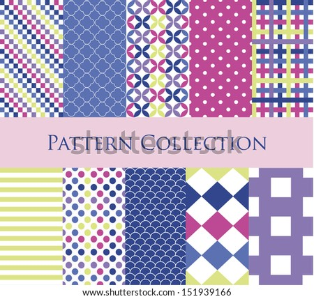 10 different vector seamless patterns (tiling). Endless texture can be used for wallpaper, pattern fills, web page background,surface textures. Geometric ornaments.