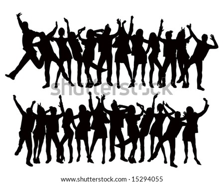2 different versions of dancing people vector silhouettes