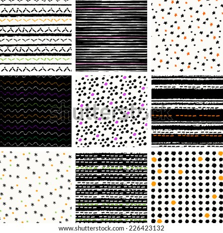 digital vector paper for halloween, patterns set - stock vector