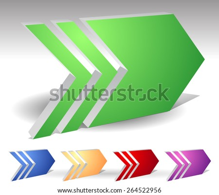 3 Dimensional Arrows in Various Colors - stock vector