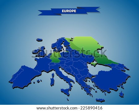 3 dimensional infographics political map of European countries, with every state easy selectable and editable in one click.Content labeled in Layers panel.  - stock vector