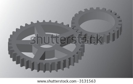 3-dimensional interlocking gears - stock vector