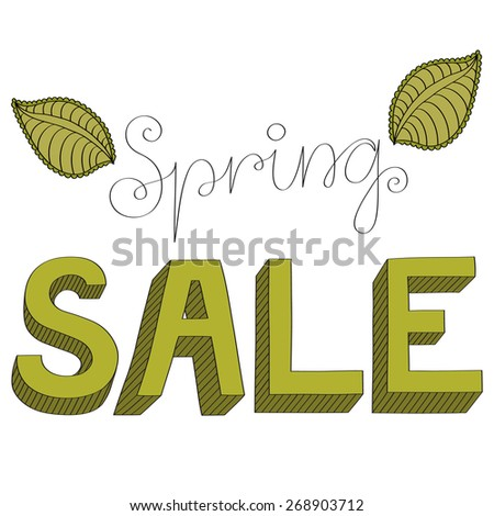 3 dimensional sign Spring sale - hand drawn - stock vector