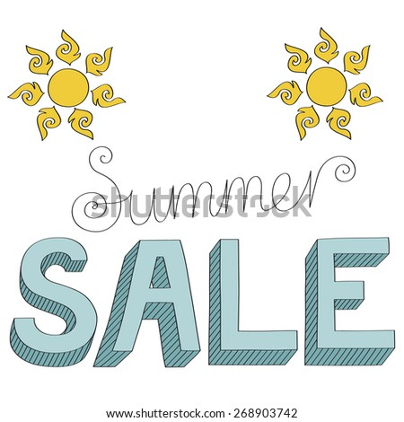 3 dimensional sign Summer sale - hand drawn - stock vector