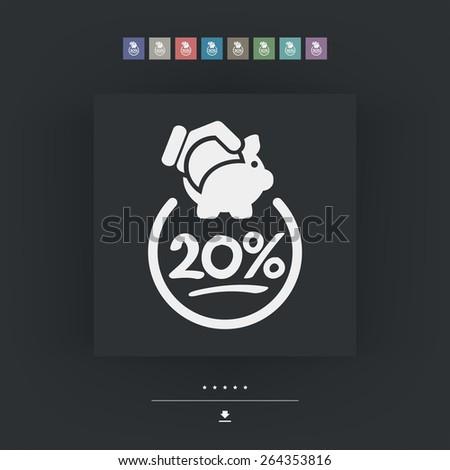 20% Discount label icon - stock vector