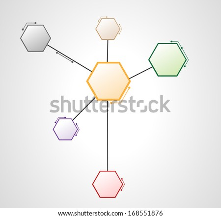 DNA molecule Hexagon web design  - stock vector
