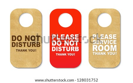3 Do Not Disturb Sign With Gradient Mesh, Isolated On White Background, Vector Illustration - stock vector