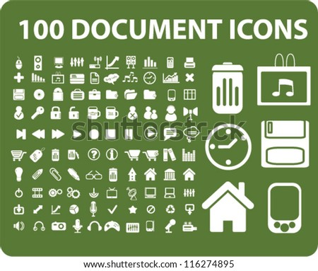 100 document icons set, vector