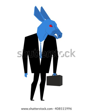 Donkey businessman. Metaphor of Democratic Party of United States. Wild animal with briefcase and tie. Beast in business suit. Political illustration for USA elections - stock vector