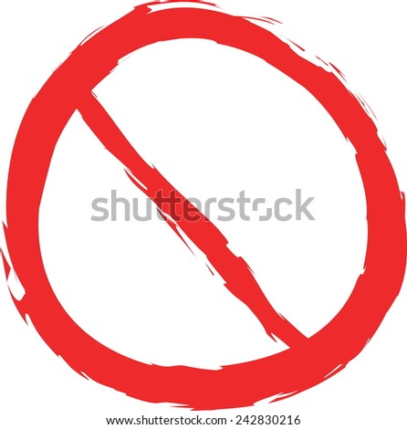 doodle forbidden sign isolated on the white,  vector design element - stock vector