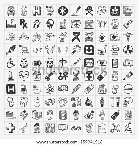 100 doodle Medical icons set - stock vector