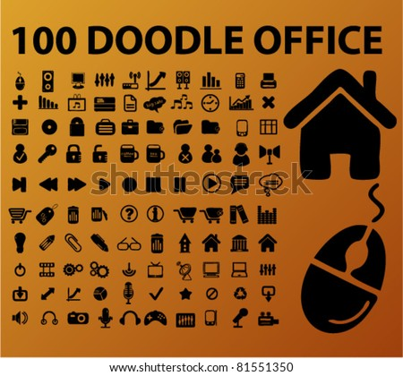 100 doodle office icons, signs, vector illustrations - stock vector