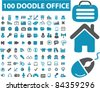 100 doodle office icons, signs, vector illustrations set - stock vector