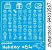 64 doodle series | holiday icon set - stock vector