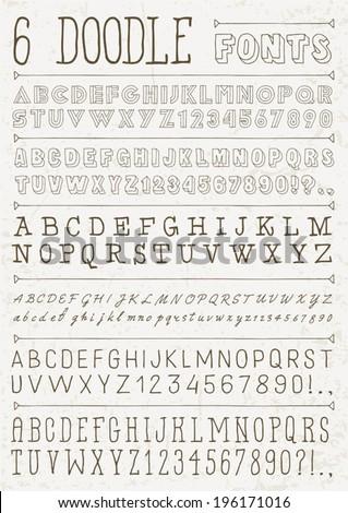 6 doodle vector fonts. Alphabet. - stock vector