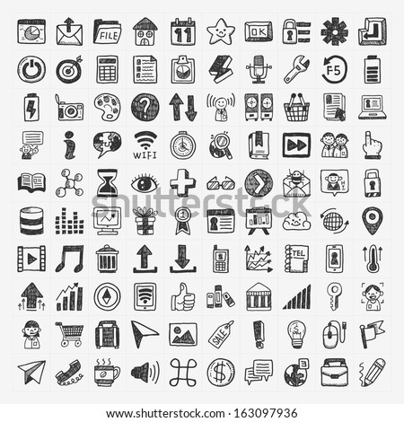 100 Doodle Web Icons - stock vector