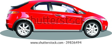 5 door hatch of car isolated on white