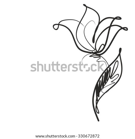 Drawing vector graphics with floral patterns with  tulips for design. Floral flower natural design. Graphic, sketch drawing. tulip.  - stock vector