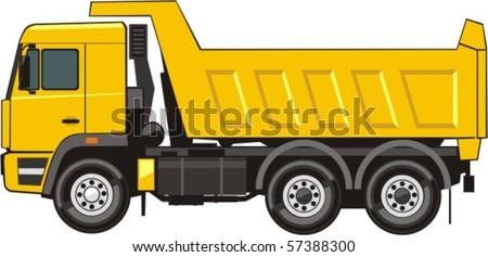 dump truck of transportation of the soil - stock vector