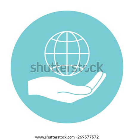 Earth in Hand icon. Hands holding Earth. - stock vector