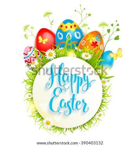 Easter bright card for design card, banner,ticket, leaflet and so on.Template page with handwritten inscription Happy Easter. Holiday card. - stock vector