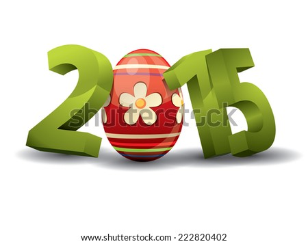 2015 Easter - 3d Text with Easter Egg - stock vector