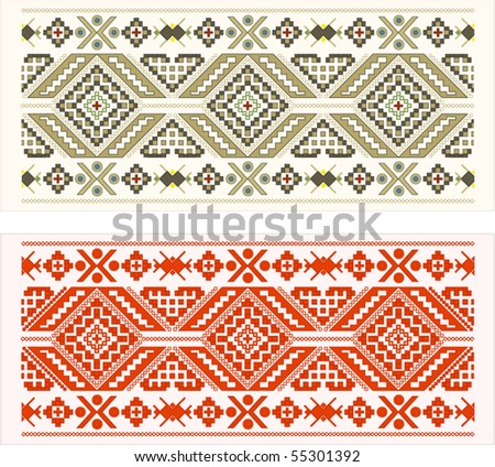 2 eastern folk patterns - stock vector
