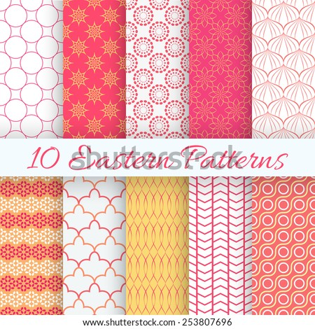10 Eastern seamless pattern set. Vector illustration for holiday design. Endless texture can be used for printing onto fabric and paper or scrap booking. Abstract retro line ornament. - stock vector