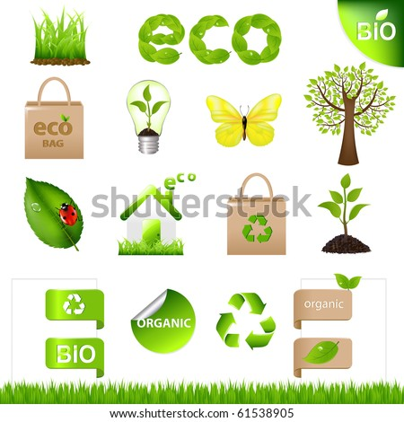 18 Eco Design Elements And Icons, Isolated On White Background, Vector Illustration - stock vector