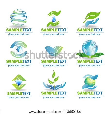 Eco Design Elements, Isolated On White Background, Vector Illustration - stock vector