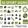 30 eco sport signs & icons, vector - stock vector
