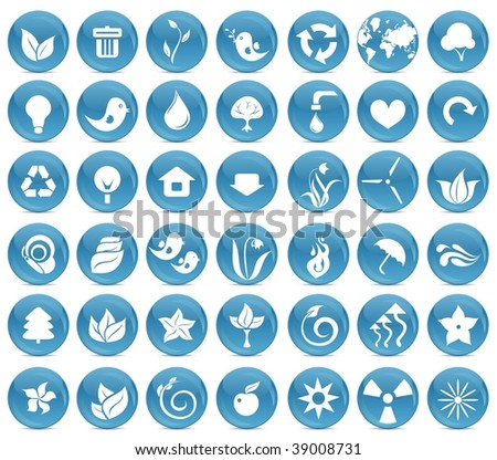 42 ecological icon buttons - stock vector