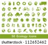 50 Ecology and recycle icons, vector set - stock photo