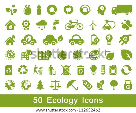50 Ecology and recycle icons, vector set - stock vector