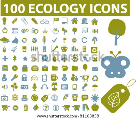 100 ecology & nature icons, signs, vector illustrations - stock vector