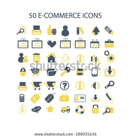 50 ecommerce, retail, sales, internet shop icons, signs, illustrations set, vector