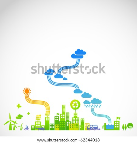 """ecotown"" - modern ecological town illustration - stock vector"