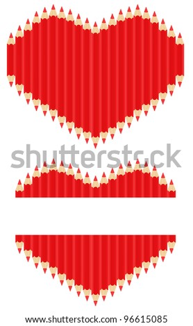 ?ector image of red pencils in form of heart - stock vector