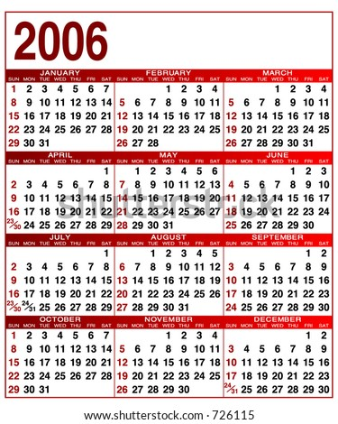2006 editable calendar, Fonts and colors can be edited - stock vector