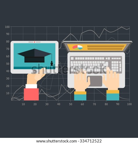Education and online courses, web tutorials, e-learning. Study and creative process.Concepts web banner and printed materials. - stock vector