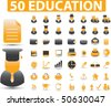 50 education glossy signs. vector - stock photo