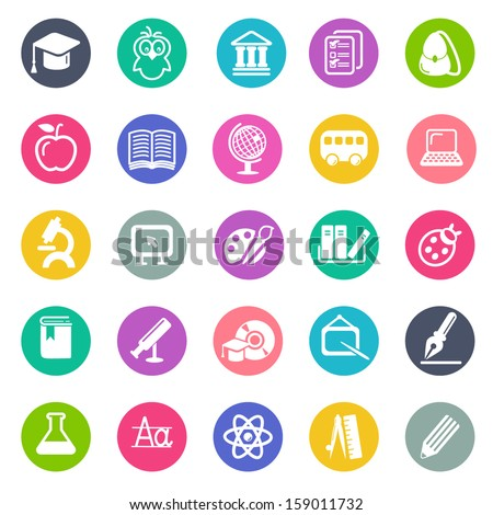 Education icon set - flat design - stock vector
