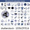 55 education icons in blue and black colors - stock vector