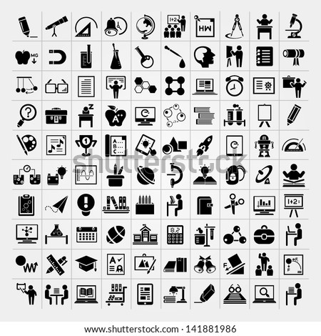 100 education icons set, back to school icons set - stock vector