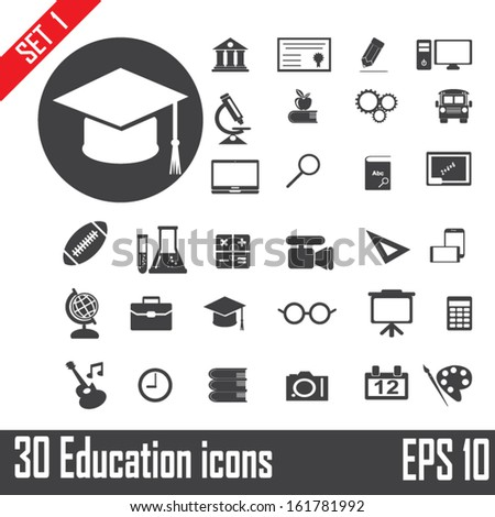 30 Education icons set 1. Illustration eps 10 - stock vector