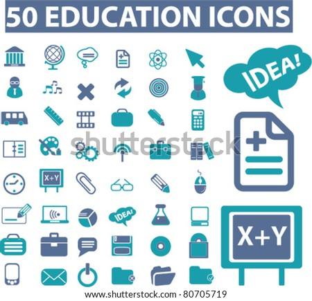50 education icons, signs, vector illustrations - stock vector