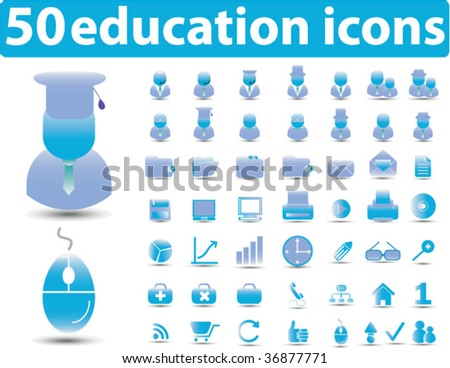 50 education icons. vector - stock vector