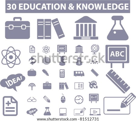 30 education & knowledge icons, signs, vector set - stock vector