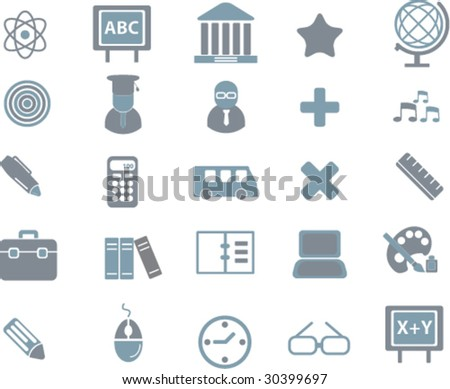 25 education signs.vector. grey-blue series.